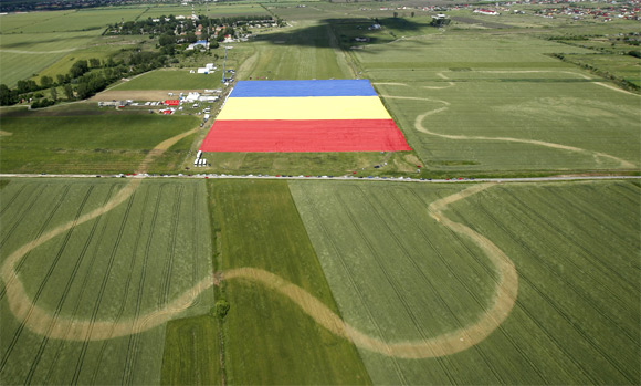 An aerial view of Romania's national flag during a Guinness World Record attempt for the world's biggest national flag in Clinceni, near Bucharest