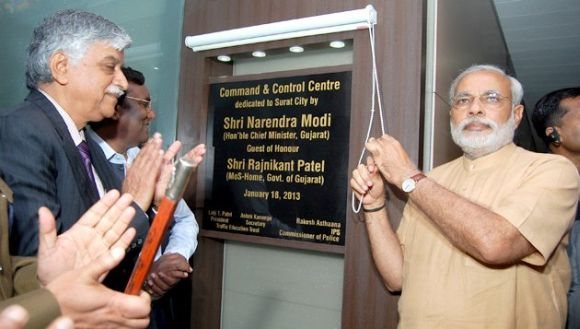 Gujarat CM Narendra Modi inaugurating the project in Surat