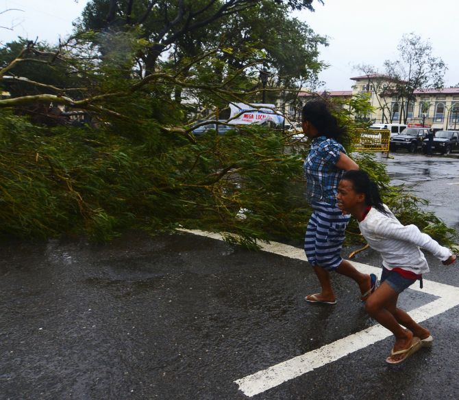 Residents rush to safety past a fallen tree during strong winds brought by Typhoon Haiyan that hit Cebu city, central Philippines, Friday