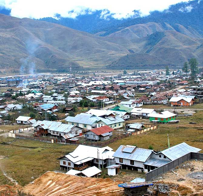 Menchuka, the largest village before the McMahon Line, which separates India and China.