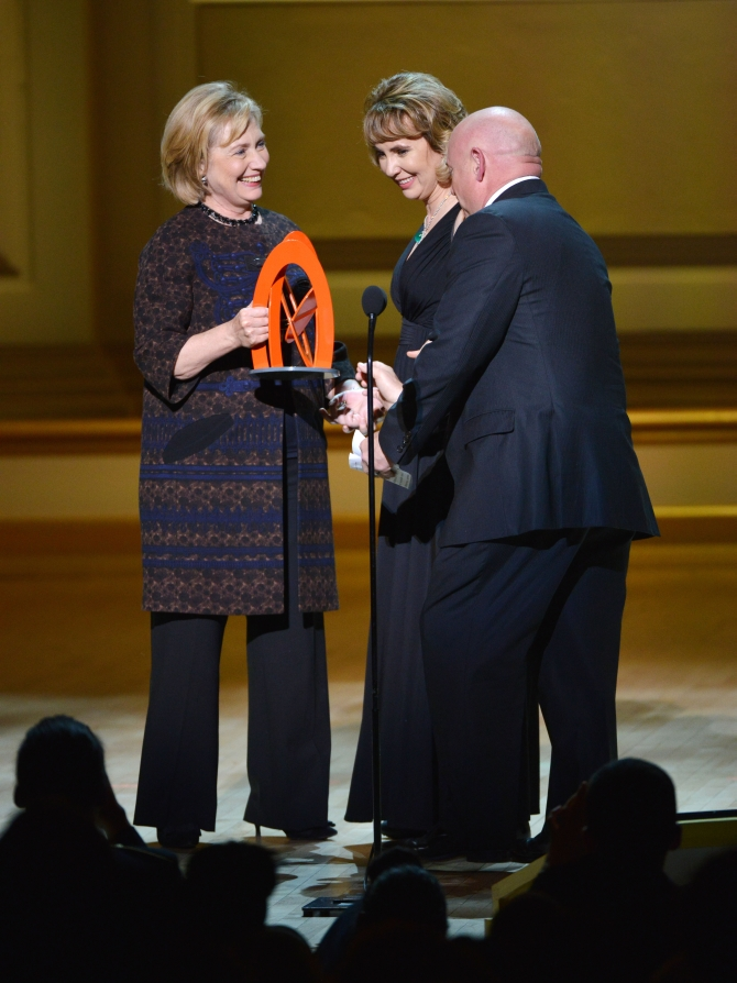 Hillary Rodham Clinton, Gabrielle Giffords and Mark Kelly at the award function