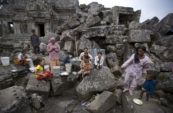 Cambodian families reside inside the grounds of the Preah Vihear temple.