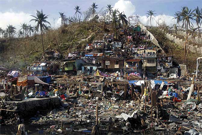 Houses near the sea devastated by super typhoon Haiyan are seen in Tacloban city