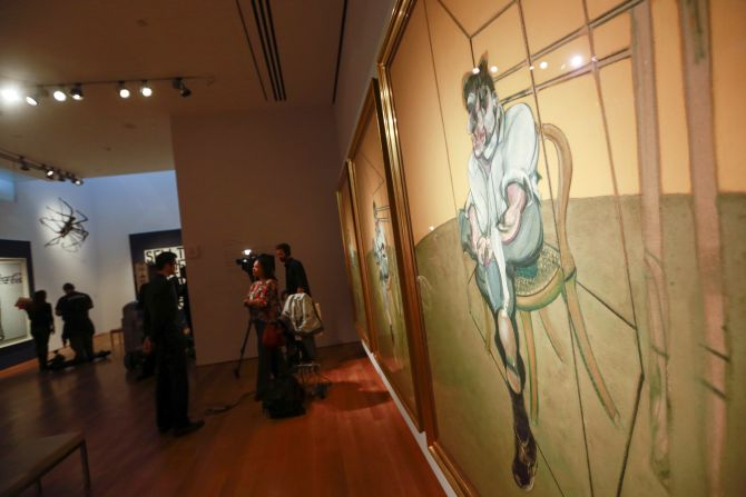 Artist Francis Bacon's 'Three Studies of Lucian Freud' is seen during a media preview at Christie's Auction House in New York.