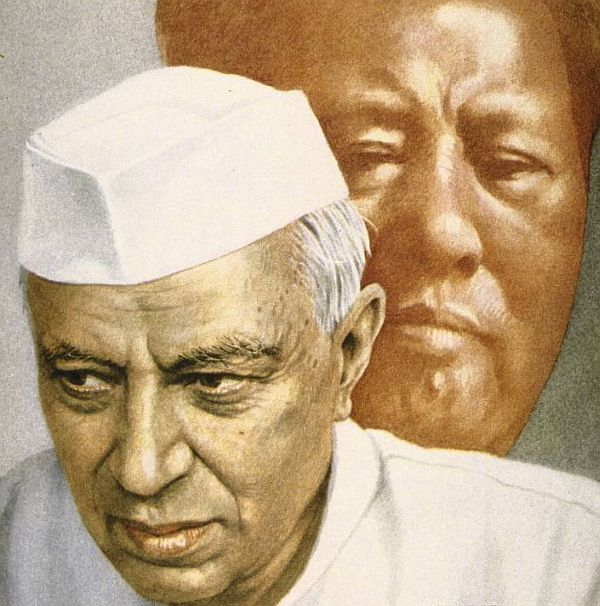 A sketch of Prime Minister Jawaharlal Nehru against the backdrop of China's capricious leader Mao Zedong who order his troops to invade India in October 1962.