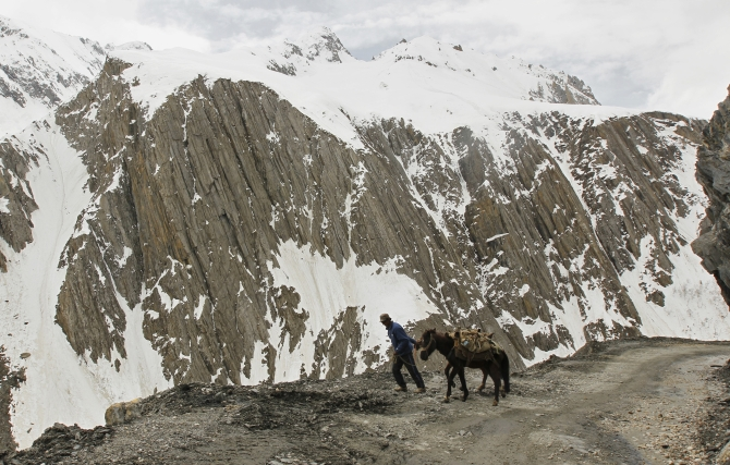 A man pulls his donkeys on a mountainous road covered by snow near the Srinagar-Leh highway