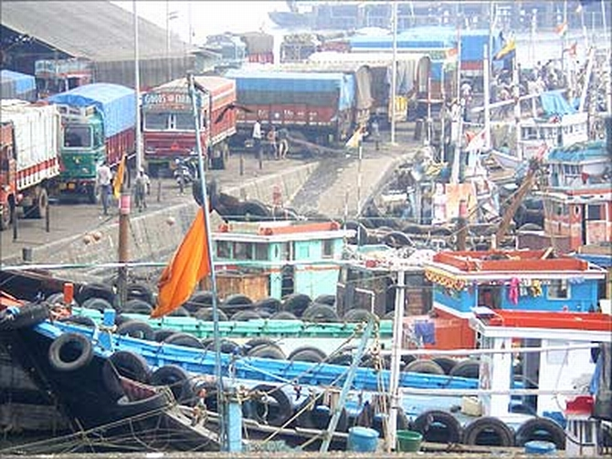 The Kuber, centre, the vessel used by the terrorists.