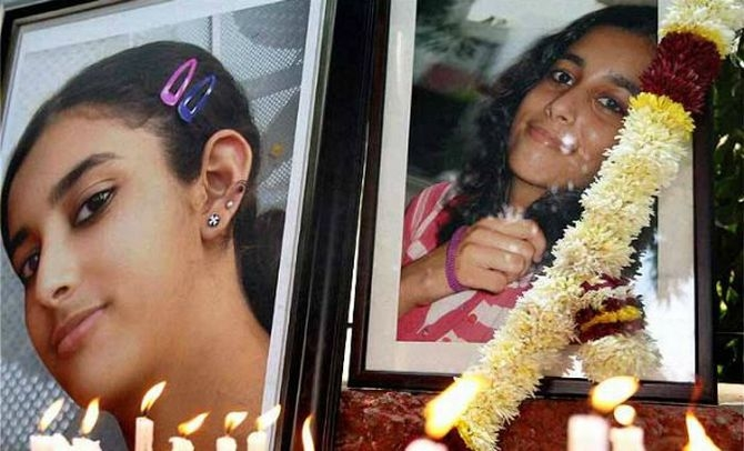 A candlelight vigil held for Aarushi after the murder