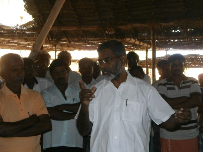 Leader of the anti-nuclear power plant protests S P Udaykumar speaks to villagers. He called the blast 'shameful'