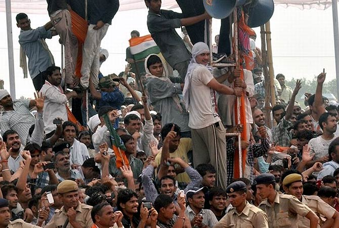 Spectators at Narendra Modi's rally in Rewari, Haryana