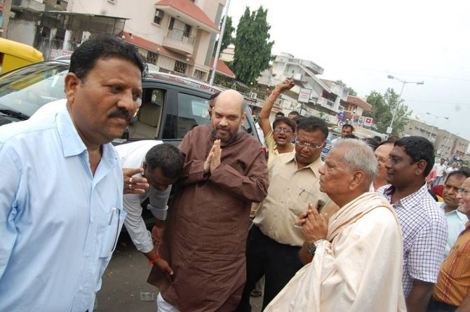 Amit Shah arrives at the Ram temple in Ayodhya