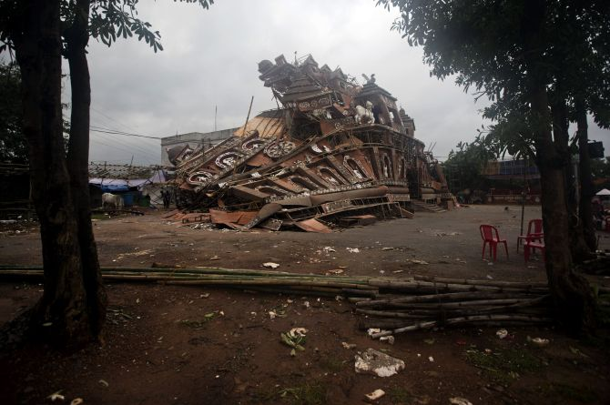 A damaged pandal is seen on Monday after Cyclone Phailin hit in Bhubaneswar.