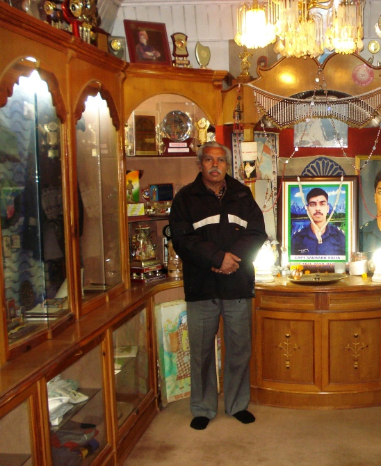 Dr N K Kalia, in the museum dedicated to his martyred son in his home in Palampur, HP.