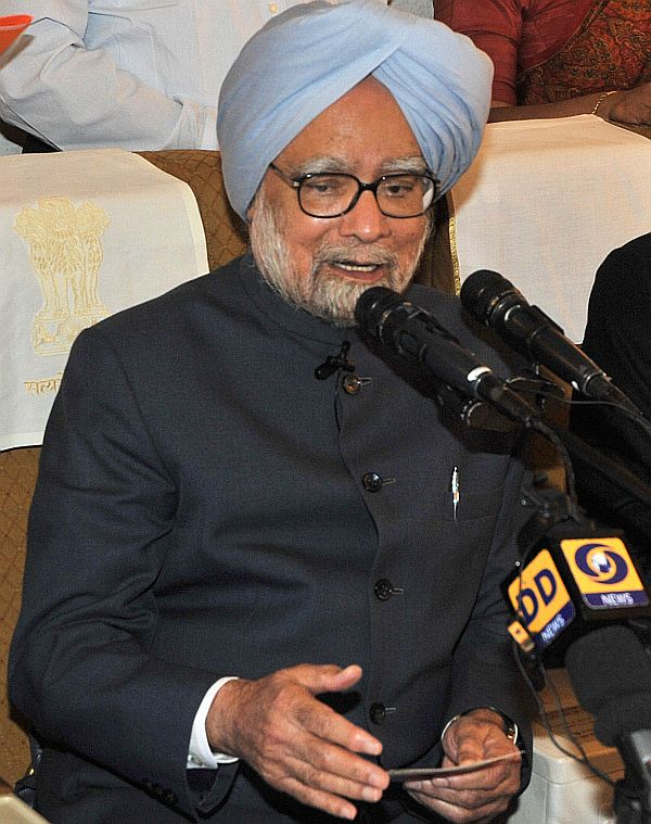 Prime Minister Manmohan Singh interacting with media-persons on board Air India One