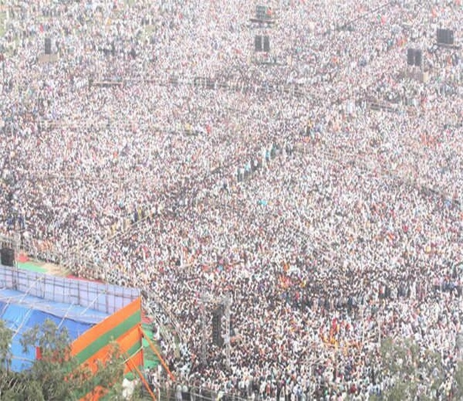 The crowd gathered for Modi's rally in Hunkar