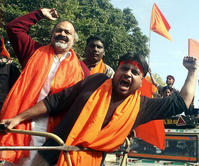 Vishwa Hindu Parishad leader participate in a demonstration at Ayodhya