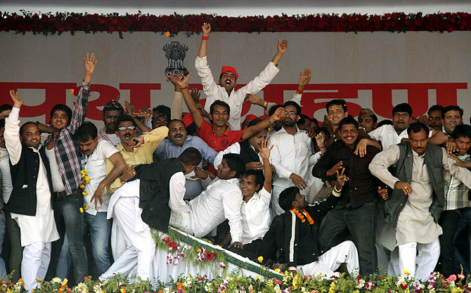 The swearing-in cermony of Akhilesh Singh