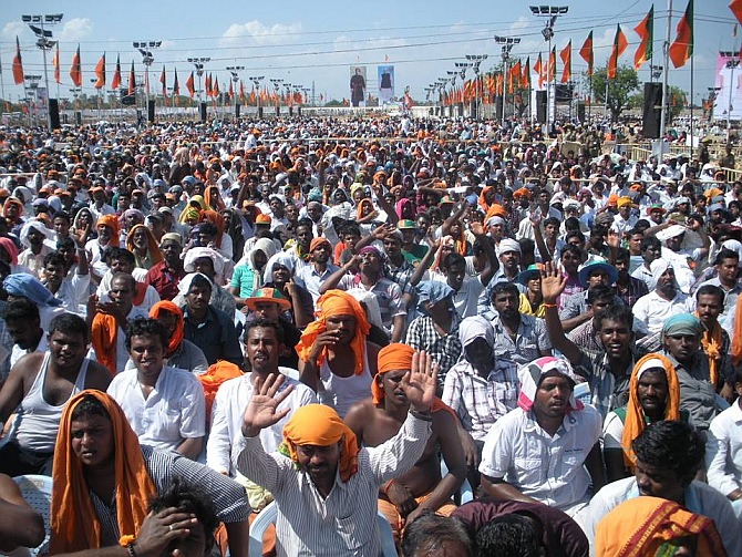 The crowd cheers at the G-Corner grounds in Trichy