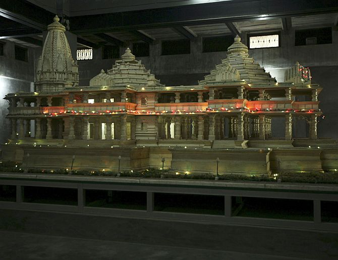 A model of a proposed Ram temple