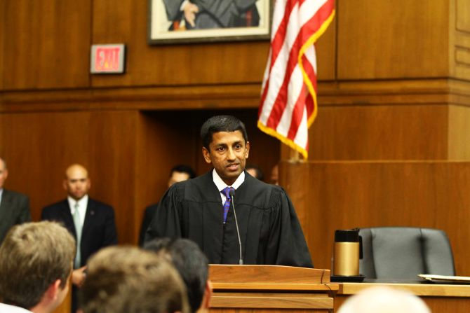 Sri Srinivasan addresses the gathering at his swearing-in ceremony