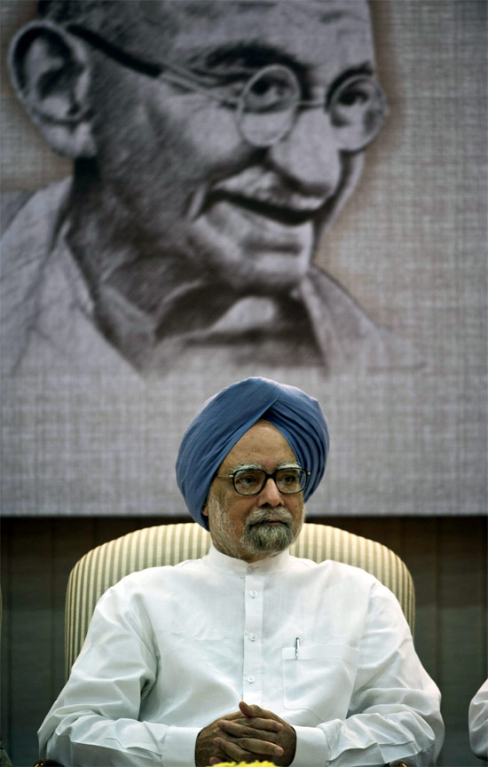 Prime Minister Manmohan Singh during the launch of the 'Gandhi Heritage Portal' in New Delhi,