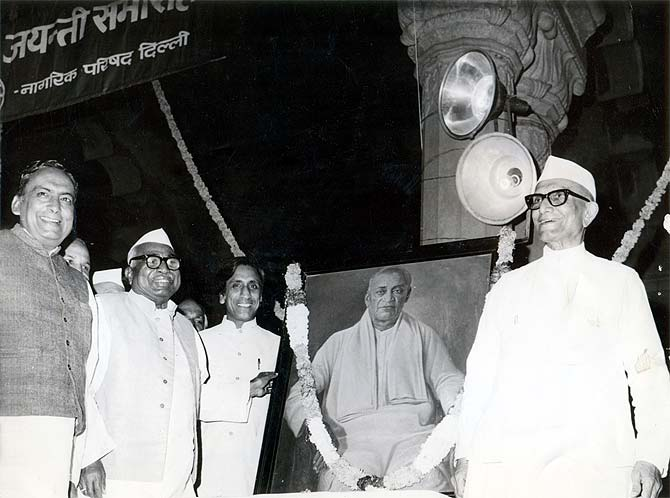 Babu Jagjivan Ram, second from left, with then prime minister Morarji Desai, right, at at an event to mark Sardar Vallabhbhai Patel's birth anniversary, October 31, 1977.
