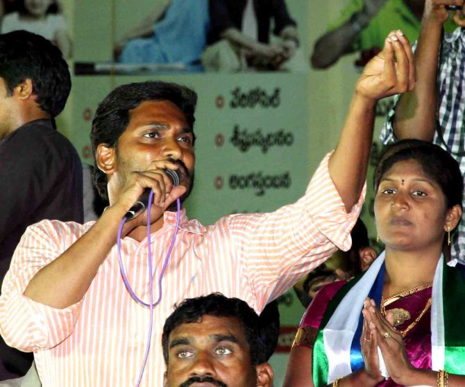 YSR Congress chief Jagan Mohan Reddy addresses an election rally