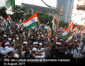 The Jan Lokpal andolan ar Ramleela Maidan in August 2011