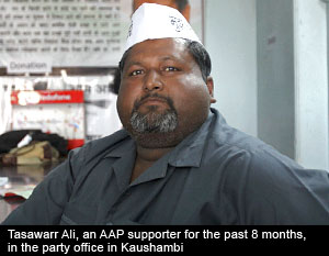 Tasawarr Ali, an AAP supporter at the party office in Kaushambi