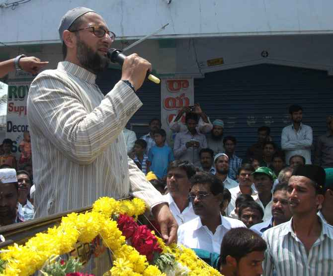 Owaisi addressing his supporters in Hyderabad