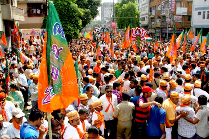 Thousands of BJP workers and supporters thronged the streets in Vadodara.