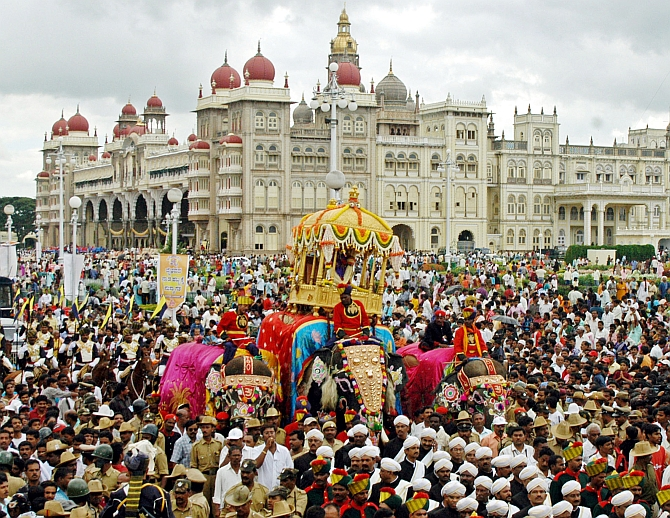 People attend the annual Dussehra celebration in Mysore. Photograph: Jagadeesh Nv/Reuters