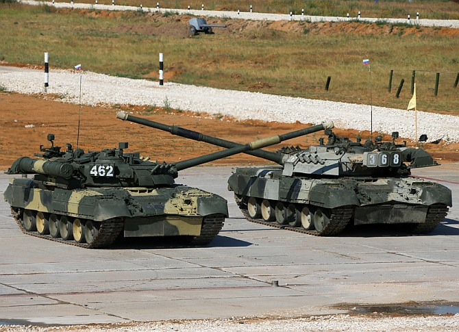 Russian T-72 tanks perform a drill during the World Tank Biathlon near Moscow