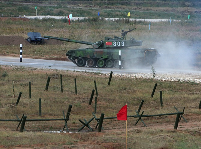 A Chinese Type 96A tank carries out manoeuvres