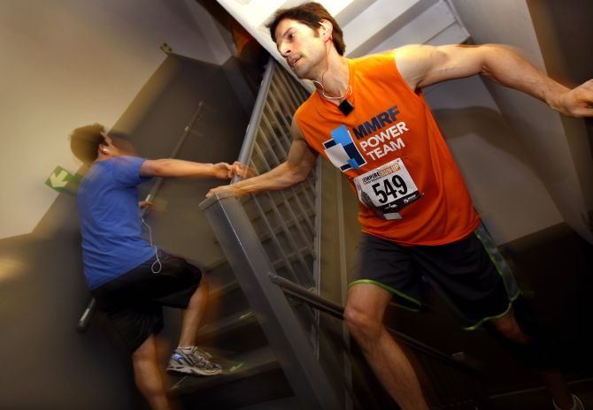 Competitors run up the stairwell on their way to the observation deck on the 86th floor of the Empire State Building in New York City during the 35th Empire State Building run-up race.