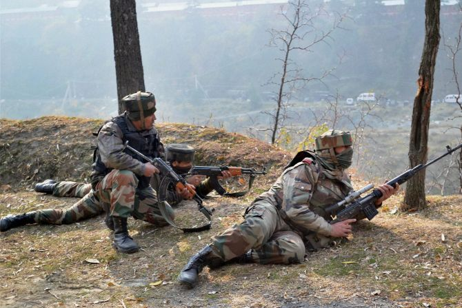 Soldiers engage in gun battle with terrorists in Uri, December 5, 2014. Photograph: PTI photo