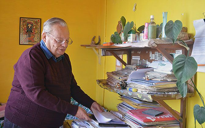 Ruskin Bond at his writing desk