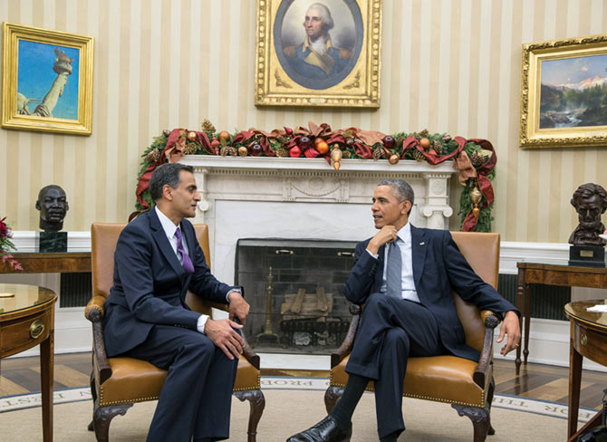 Richard Rahul Verma, the first Indian American to be appointed US Ambassador to India, with President Obama in the White House