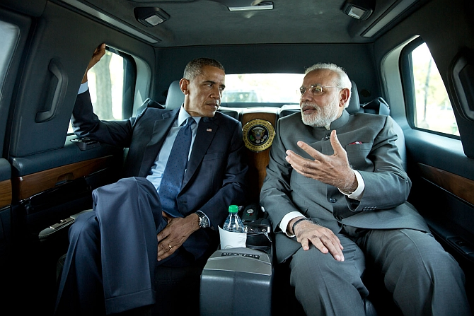 US President Barack Obama and Prime Minister Narendra Modi travel to the Martin Luther King, Jr Memorial, September 30, 2014. Photograph: Pete Souza/White House