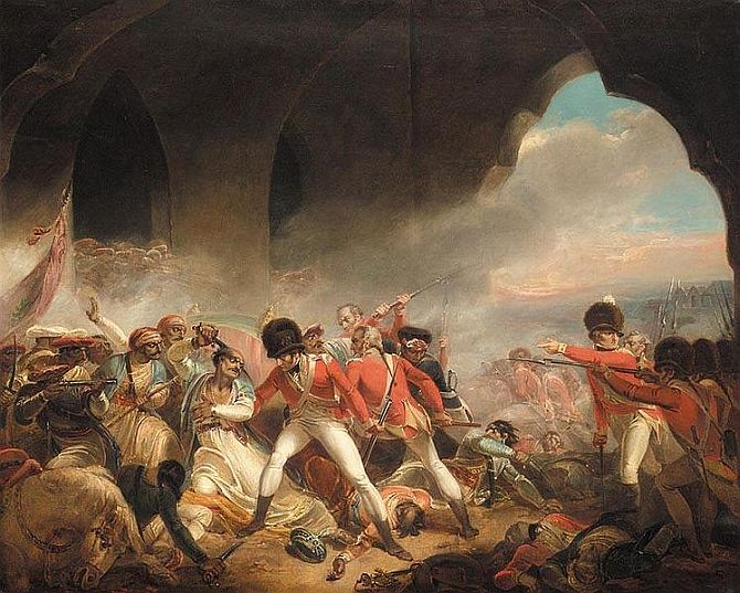 A painting titled 'The Last Effort and Fall of Tipu Sultan' depicting the war of Srirangapatna