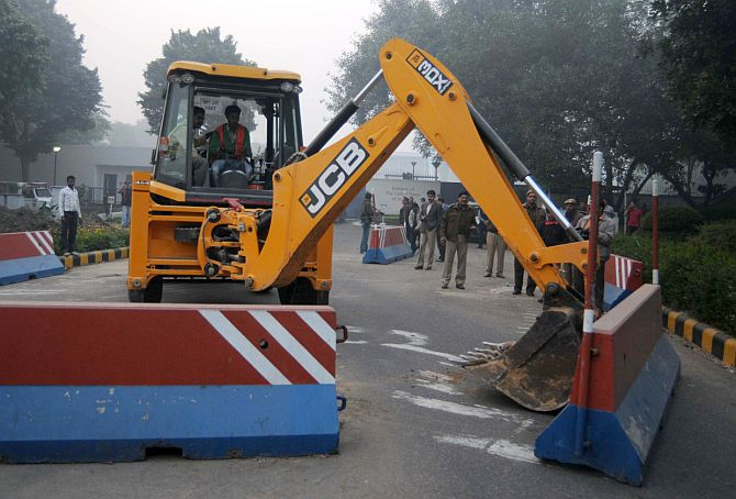 Barricades being removed outside the US embassy in New Delhi.