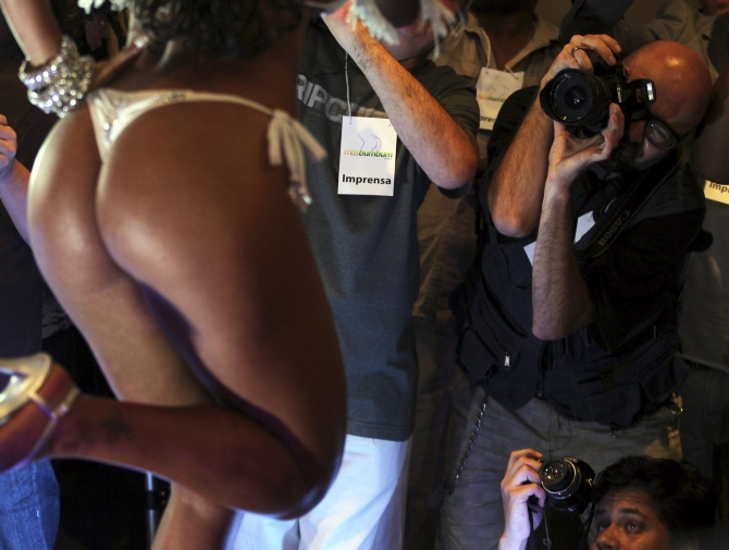 A model parades during the Miss Bumbum Brazil 2012 pageant in Sao Paulo.