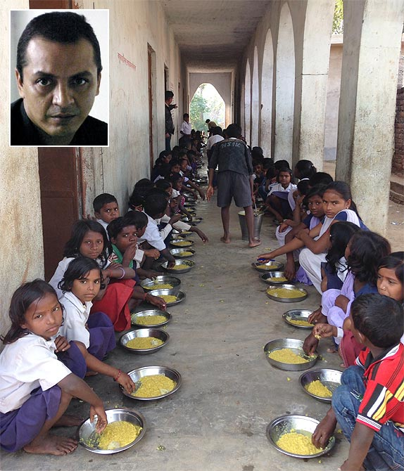 A midday meal being served to school children in the Nawada district of Bihar; Inset, Journalist-Writer Sankarshan Thakur