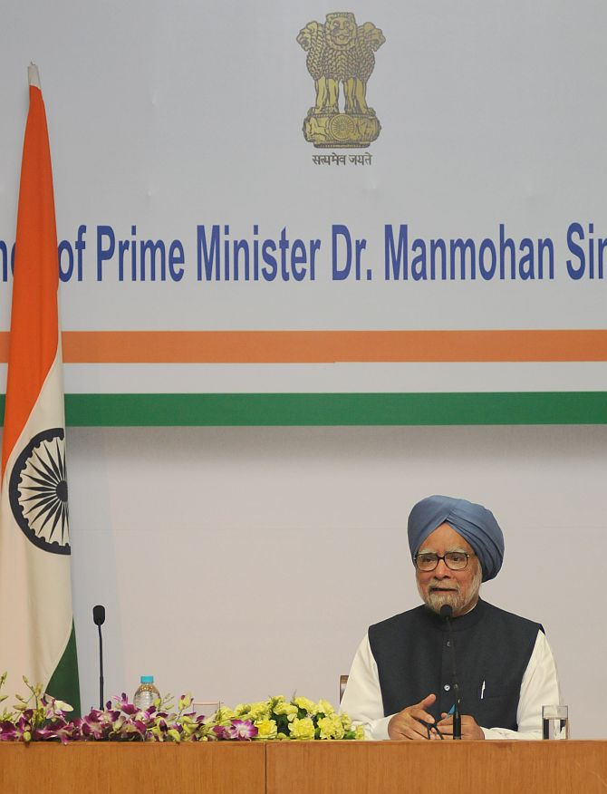 Then prime minister Dr Manmohan Singh addresses a press conference in New Delhi, January 3, 2014. Photograph: Press Information Bureau
