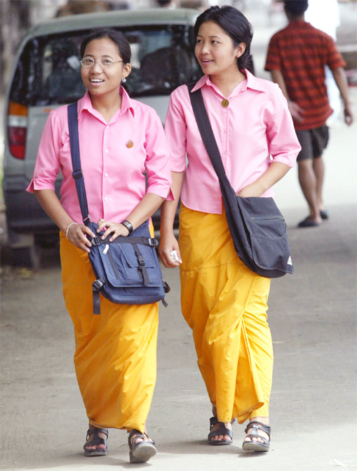 Girls walk down a street in Imphal, the capital of Manipur.