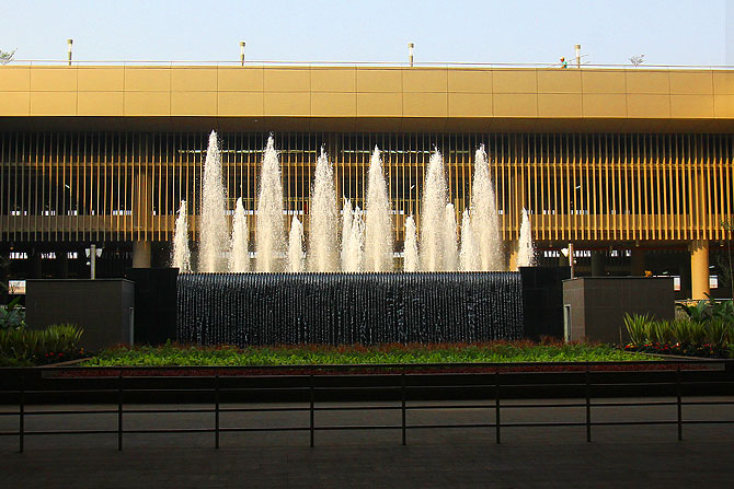 The exit with the fountain at the centre. You will be sorry to leave the fancy terminal and enter the city's chaos.