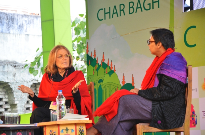 Author Gloria Steinem with journalist and activist Ruchira Gupta