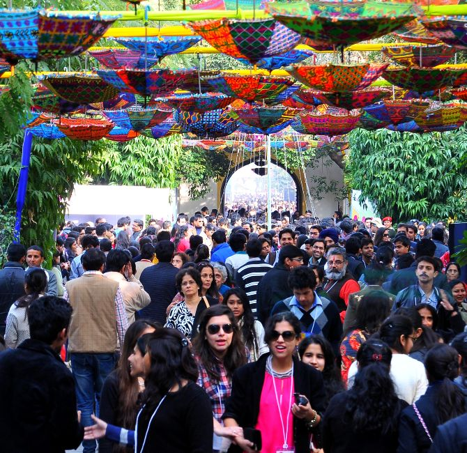 Visitors at the Jaipur Literature Festival, Day 3
