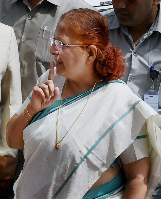 Lok Sabha Speaker Sumitra Mahajan speaks to reporters outside Parliament.