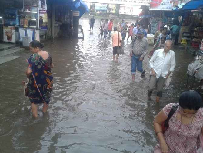 A water-logged street in Mumbai on Wednesday
